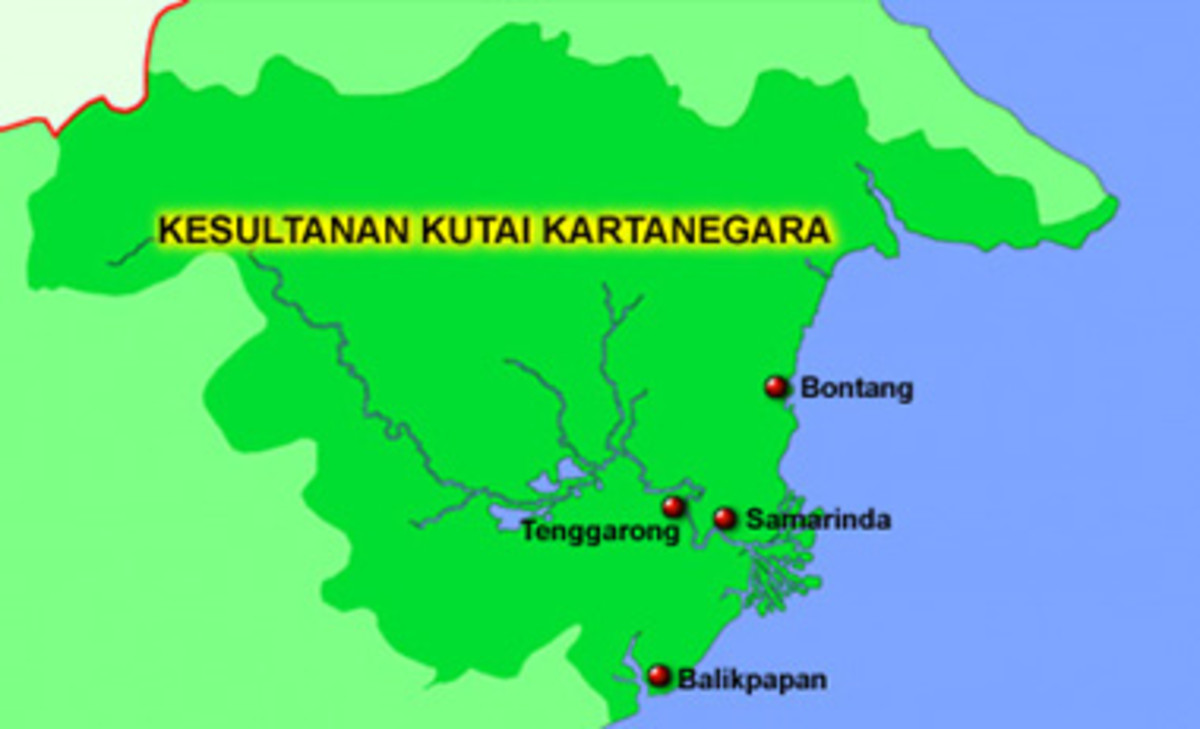 Map of Kutai Kertanegara Kingdom territory between 1300-1960 AD.