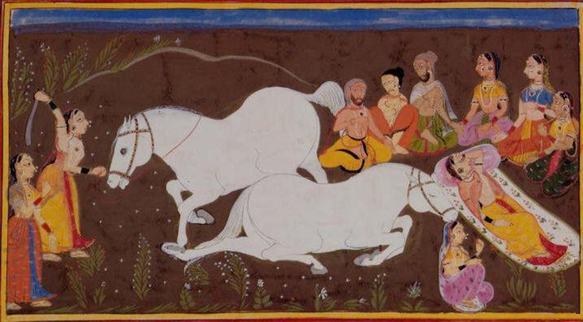 illustration of Asvamedha Ceremonies in Ramayana by Sahib Din, 1652. Kausalya is depicted slaying the horse (left) and lying beside it (right).