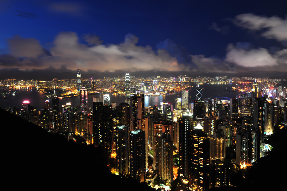 The night time city scape of Hong Kong.