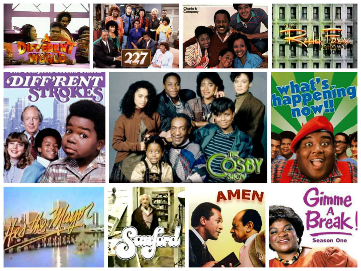 L to R: A Different World, 227, Charlie & Company, The Redd Foxx Show, Diff'rent Strokes, The Cosby Show, What's Happening Now!!, He's the Mayor, Sanford, Amen, and Gimme a Break!