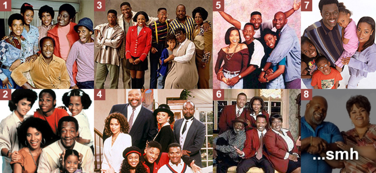1. Good Times, 2. The Cosby Show, 3. Family Matters, 4. The Fresh Prince of Bel Air, 5. Martin, 6. The Jamie Foxx Show, 7. The Bernie Mac Show, 8. House of Payne