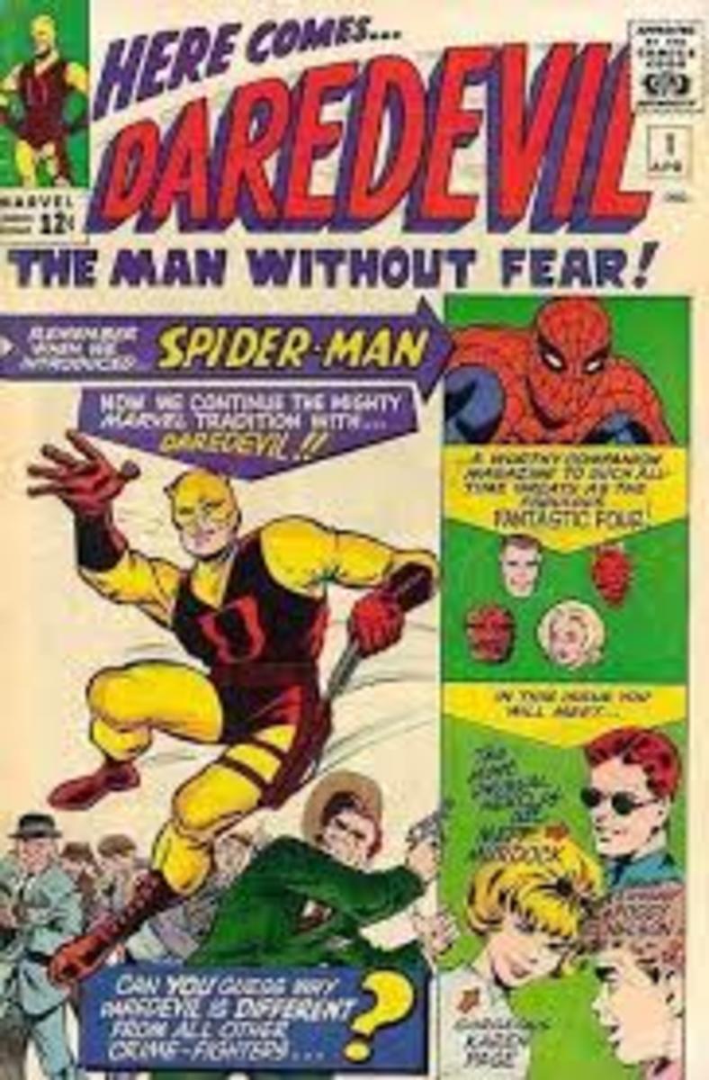 Daredevil # 1 note the original costume color.