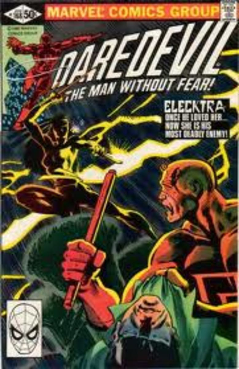 Elektra comes crashing into the Marvel universe in Daredevil # 168.