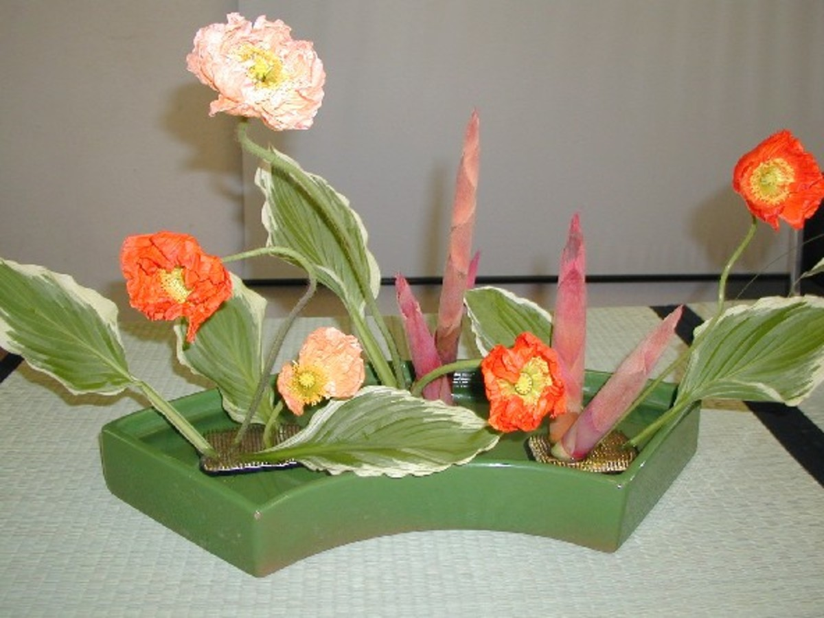 The container is considered part of the arrangement in ikebana.