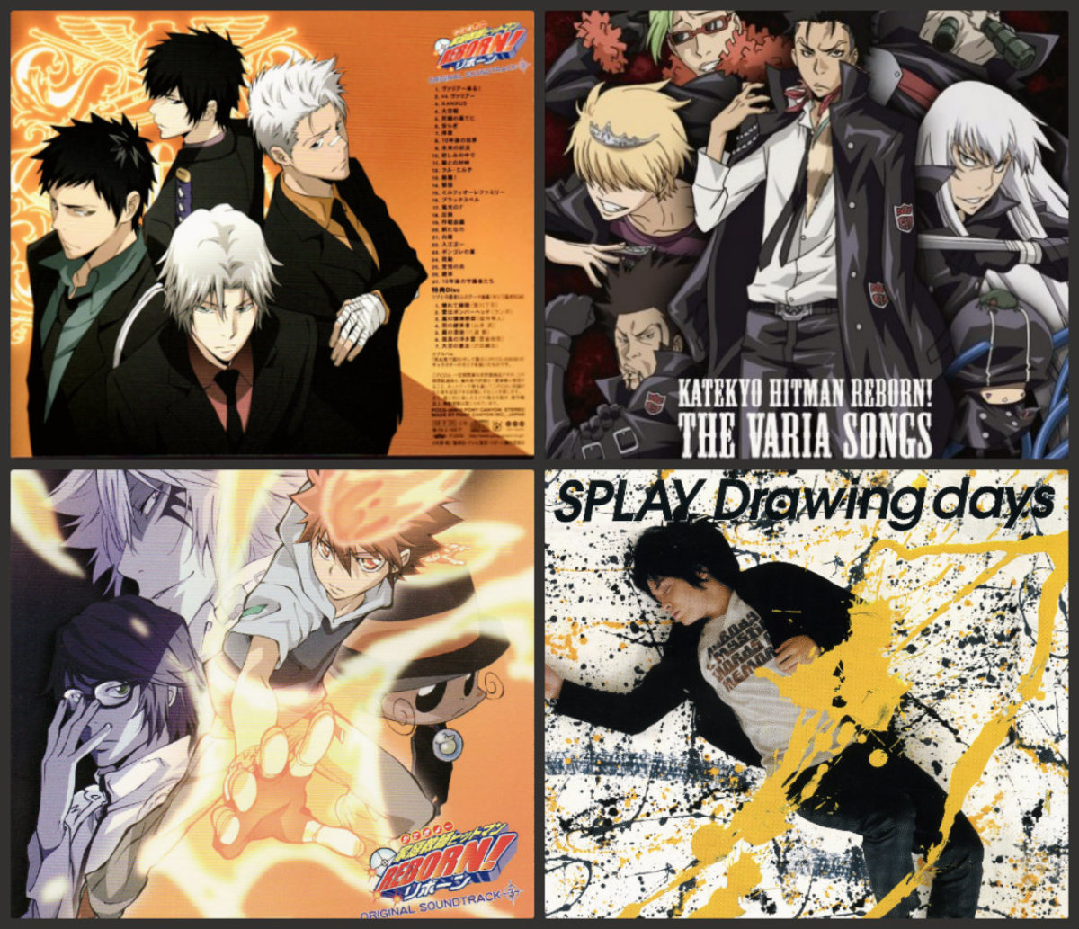 top left http://thatssumanime.files.wordpress.com/2009/03/katekyo-hitman-reborn-ost-back-cover.jpg?w=480&h=412 top right http://www.downloadost.com/ost/big-kateikyoushi-hitman-reborn-character-song-album-the-varia-songs-ost.jpg