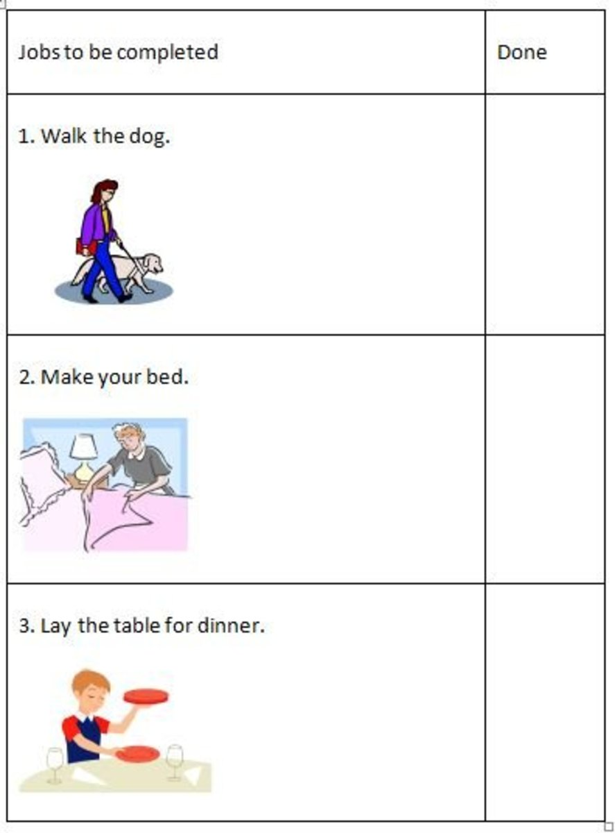 A simple visual check list showing a child what jobs they need to complete. Each item can be ticked off as the child progresses through them.