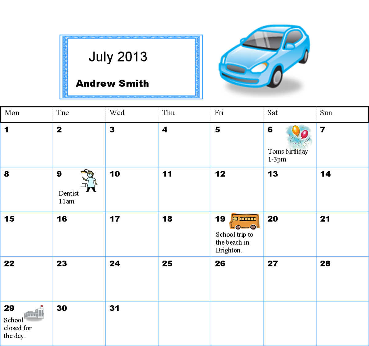 Simple visual timetable designed to show a child what one off events are happening in July.