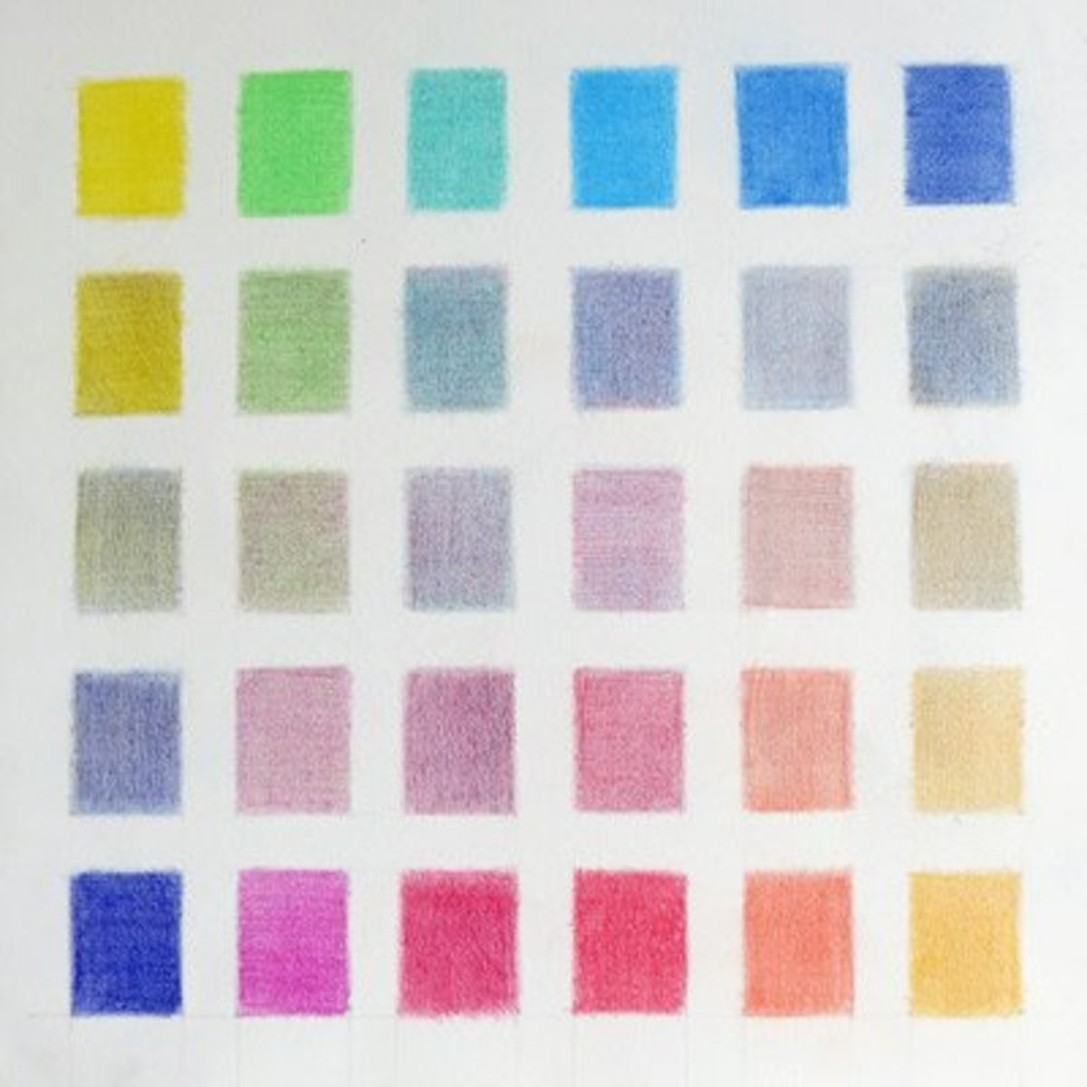 An exercise in mixing neutrals from 12 complementary colours using coloured pencils