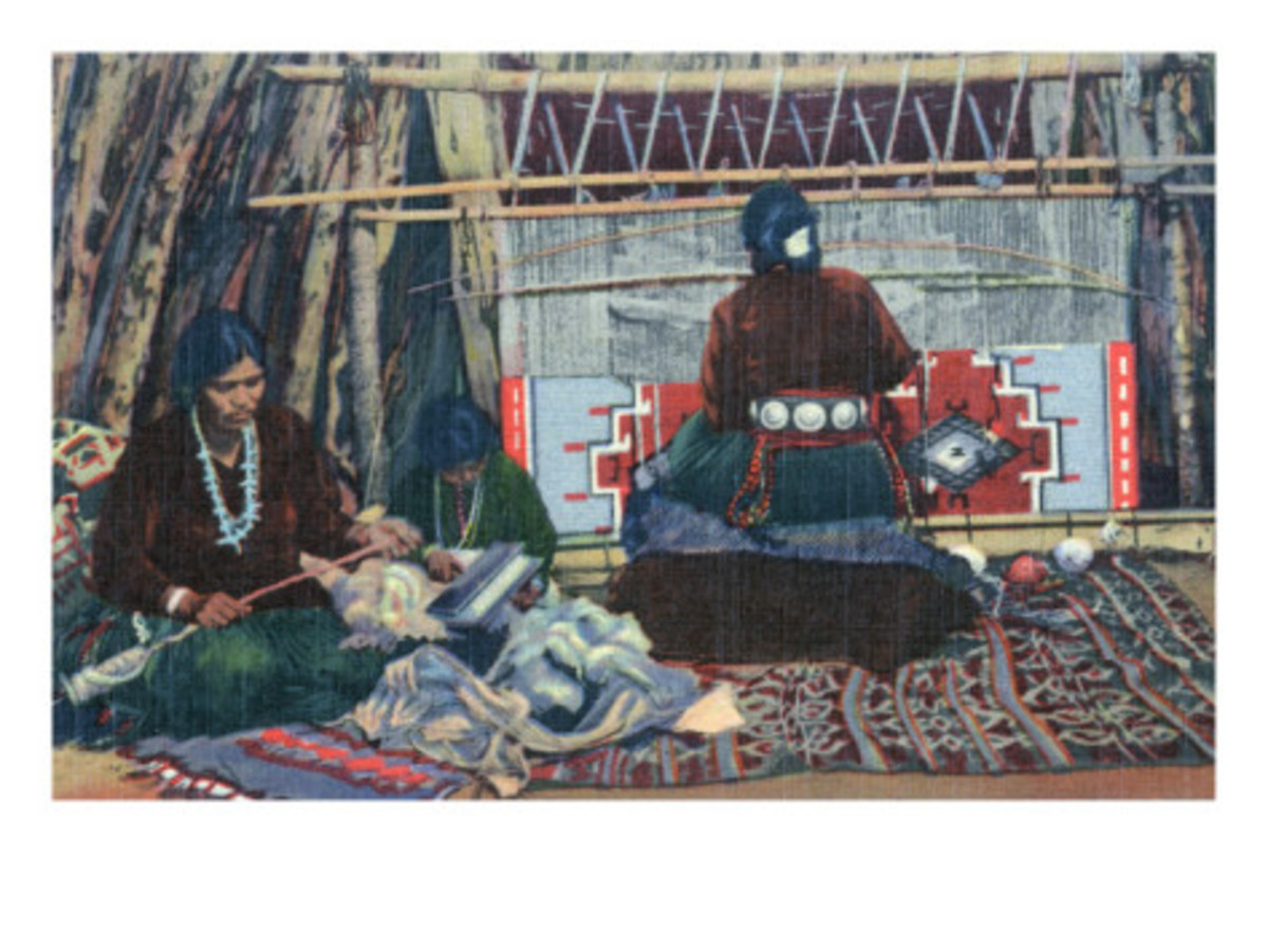 Navajo Ladies Weaving Rugs