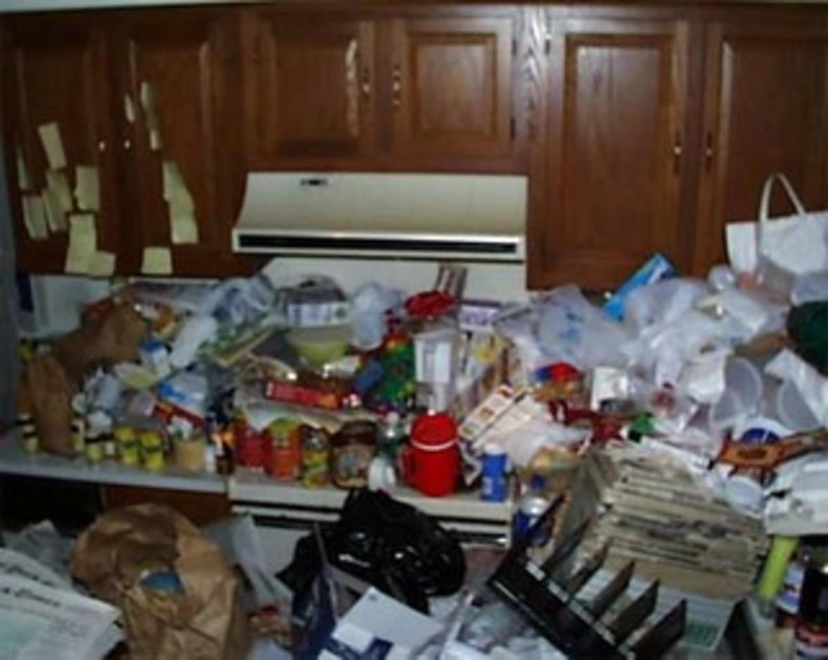 A hoarders kitchen