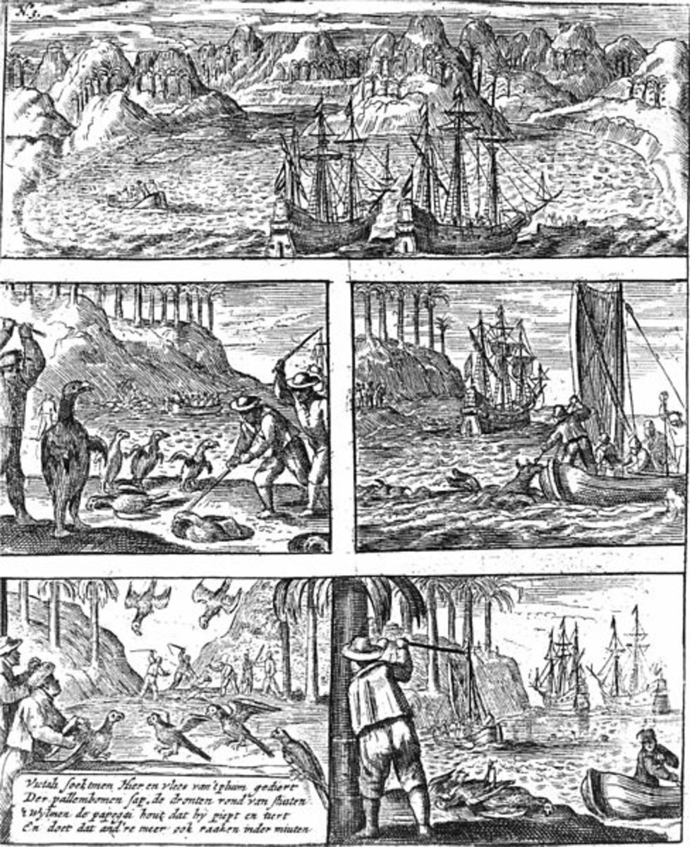 1648 engraving showing the killing of Dodos (centre left) and other animals now extinct from Mauritius