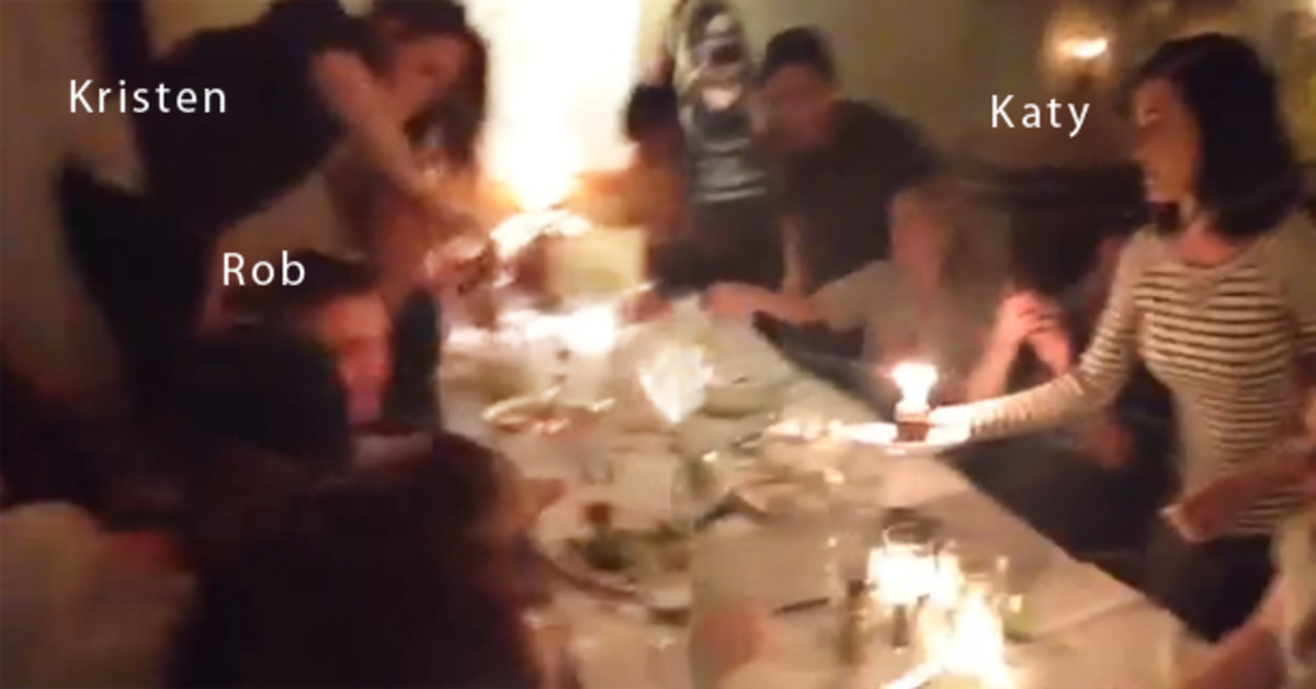 Rob, Kris and Katy in a birthday party video (Katy's birthday, I think) - a few weeks before they broke up.