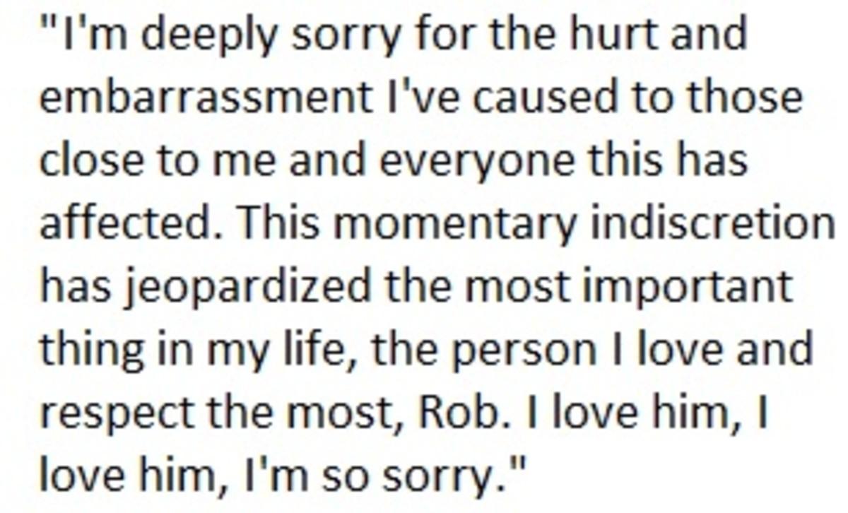 Kristen Stewart's Public Apology 7/25/12