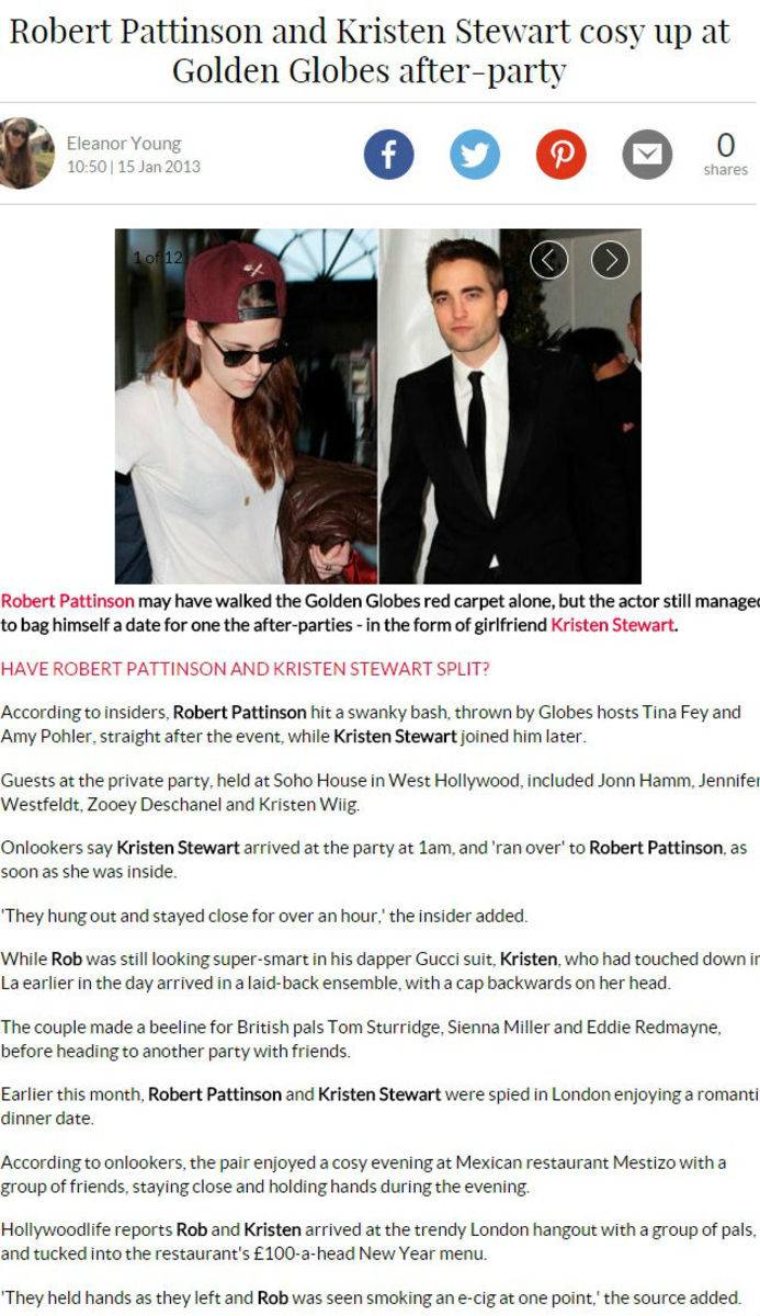 This is from MarieClaireUK, and they also reported on other recent 'PDA' moments caught in London - other places reported on this;  and it was ignored. Notice how they all mention that Robert walked the Red Carpet ALONE.