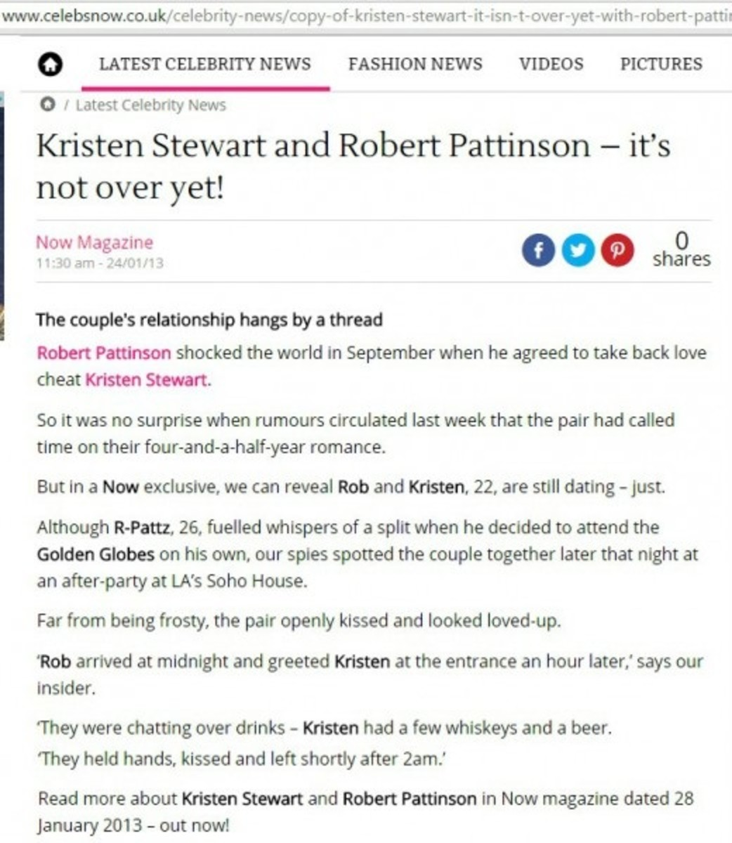 Notice how this reporter is twisting things? Because tabloids feed off each other; and they would not have made much money when Rob left without this misogynistic lie to keep their fans profitably fighting.