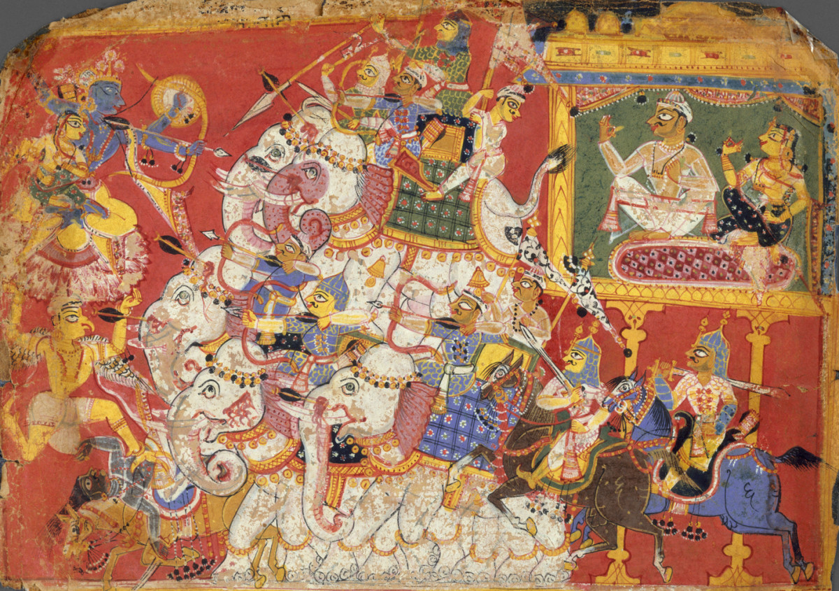Lord Krishna Battles the Armies of the Demon Naraka: A depiction the Bhagavata Purana