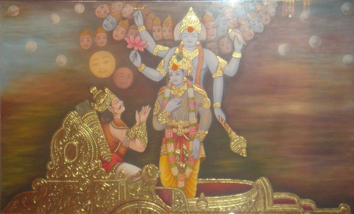 Lord Krishna delivering the Bhagavad-Gita to Arjuna