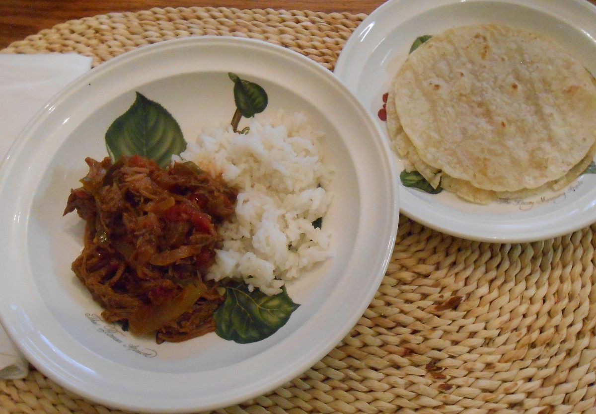 Thrift Shop Stew over rice, with corn tortillas. Warm and comforting!