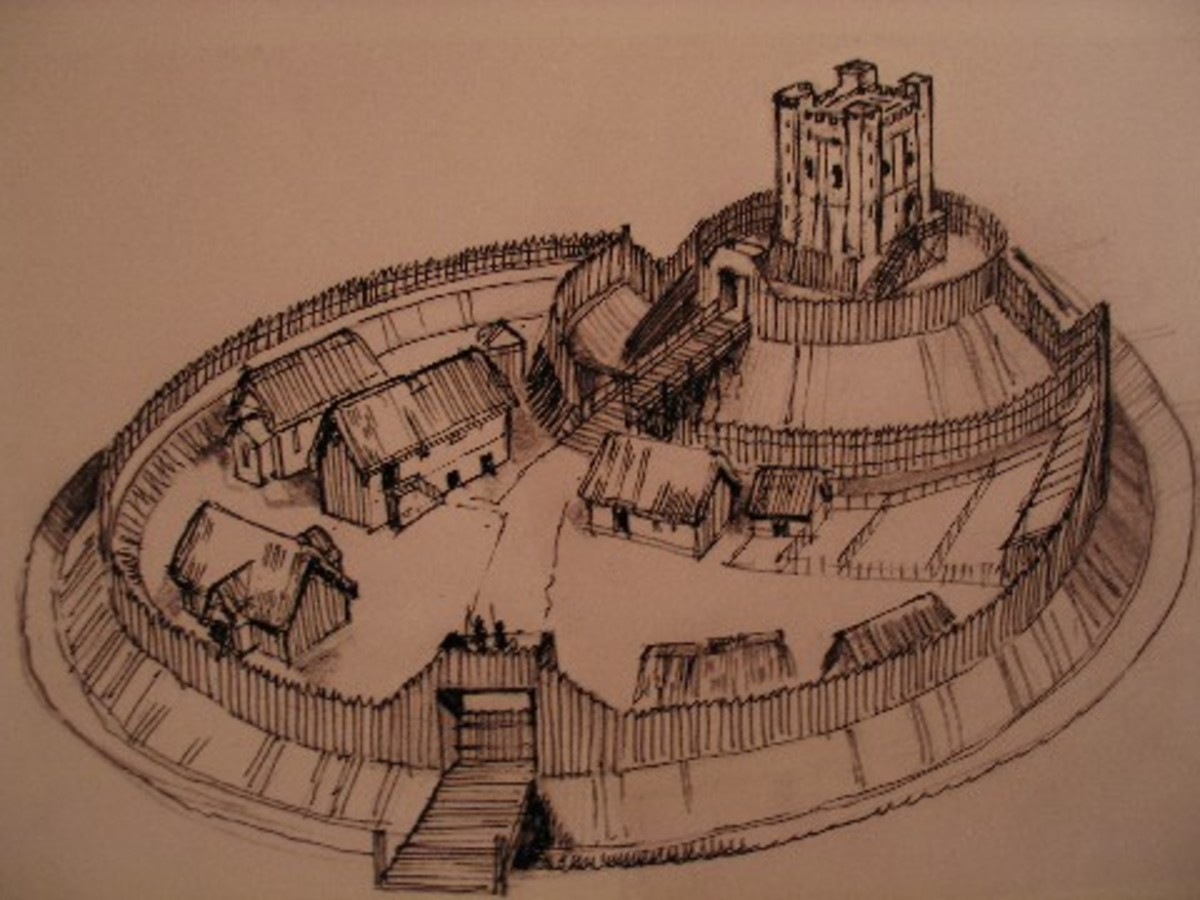 Typical Norman castle layout in the early days of the 'occupation' - this is how William fitzOsbern's castle at Hereford would have looked to a passing pigeon. The castle was destroyed by Eadric 'Cild' and his Welsh allies before they took Shrewsbury