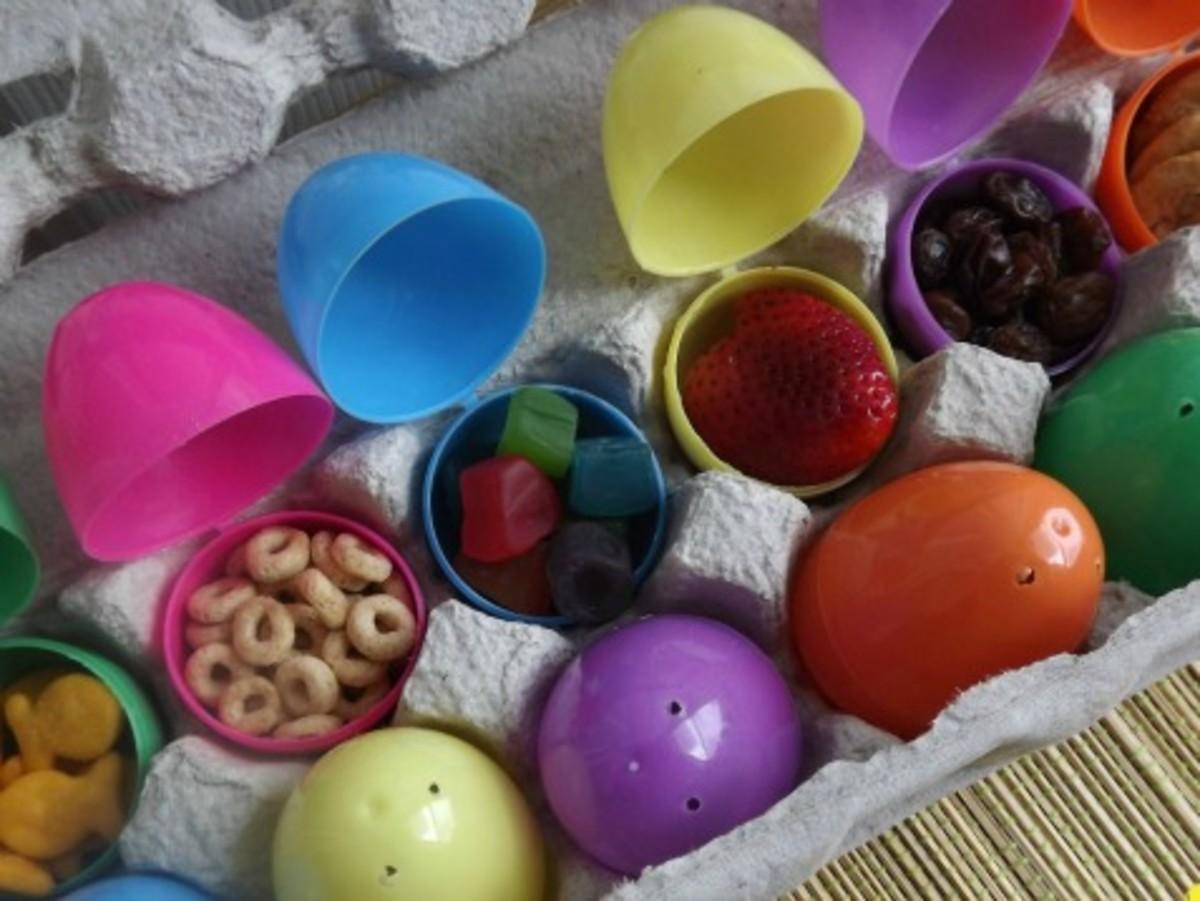Using plastic Easter eggs as snack holders