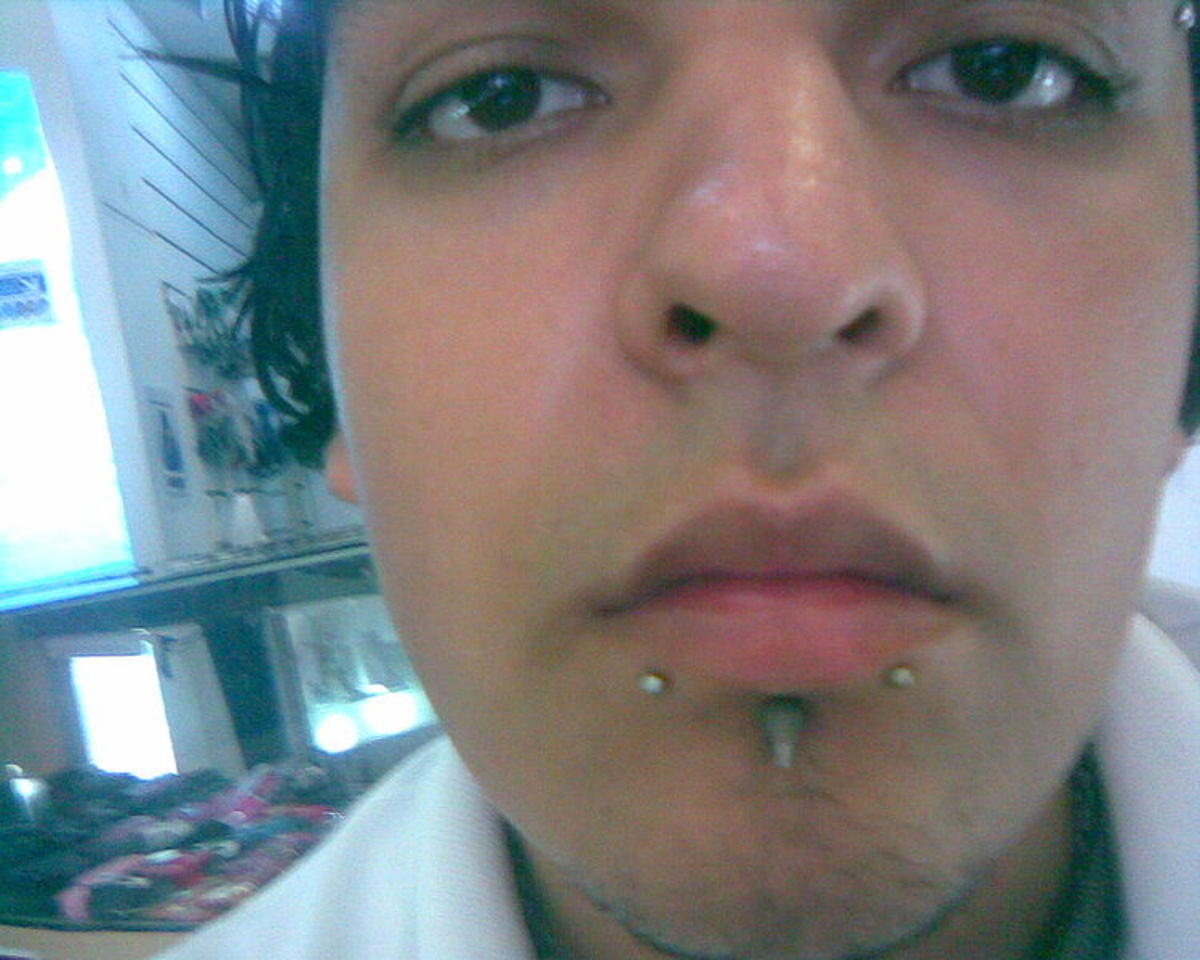 Labret piercing is placed right below the lower lip and above the chin