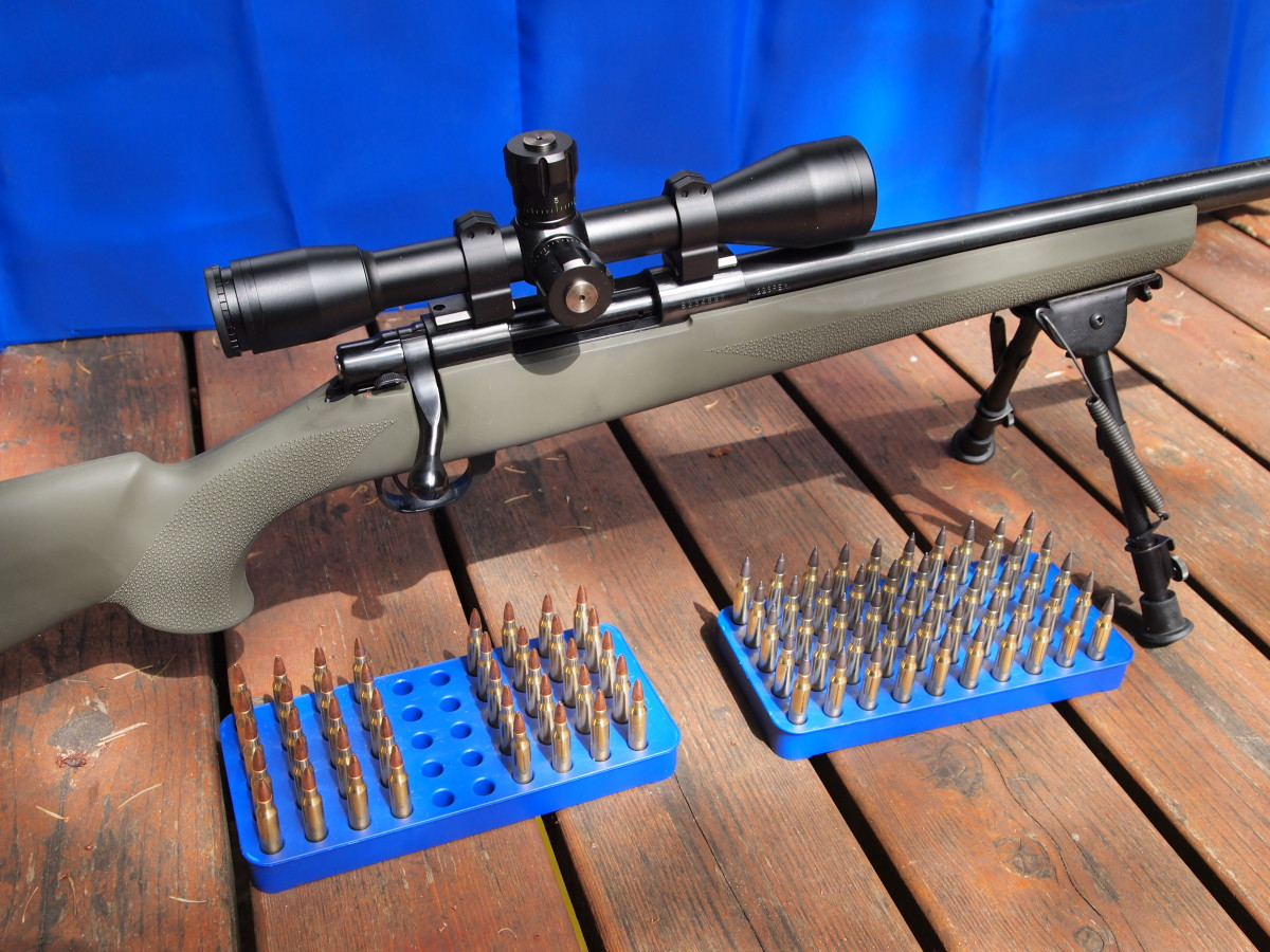 Howa 1500 heavy-barreled .223 topped with a Bushnell 10X Mil-Dot scope in Warne rings and bases.