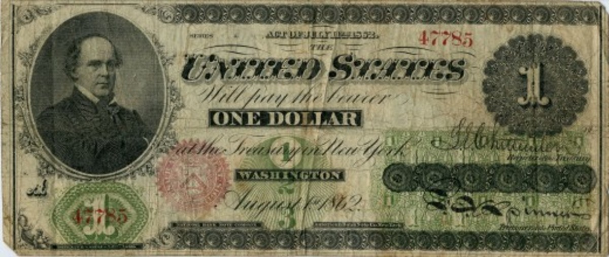 "US paper currency $1 ""greenback"""