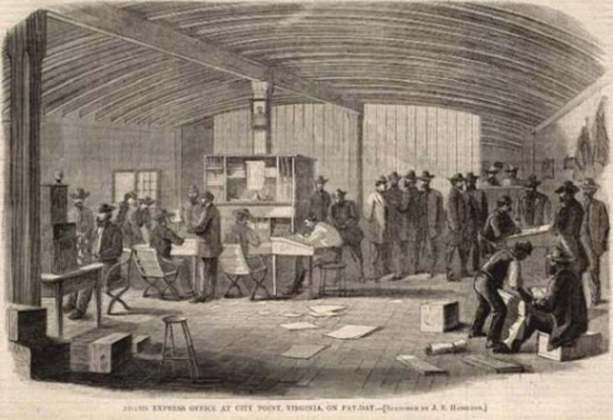 The office at Adams Express at City Point, VA in 1864 during payday. Appropriately, it is rather busy
