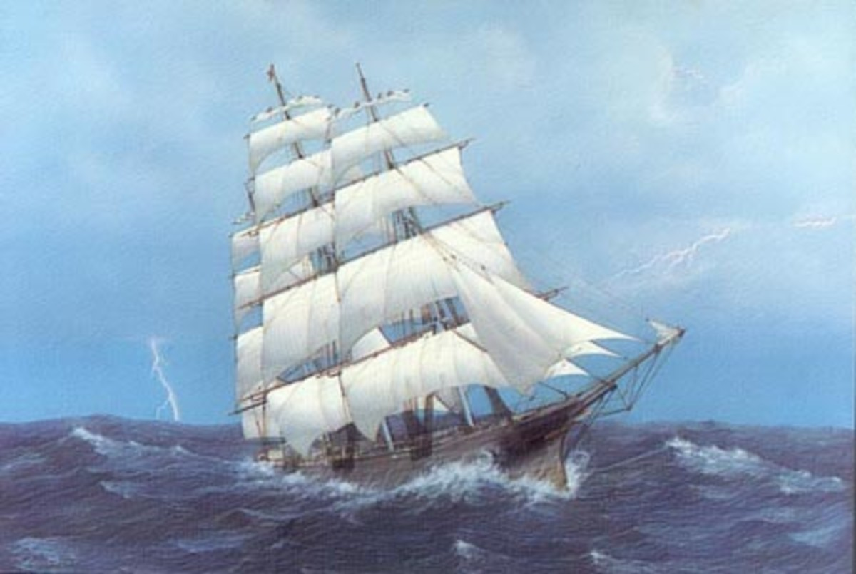 """Clipper Ship Lightning."" The clipper ships replaced the sailing ships of the early 1800s."