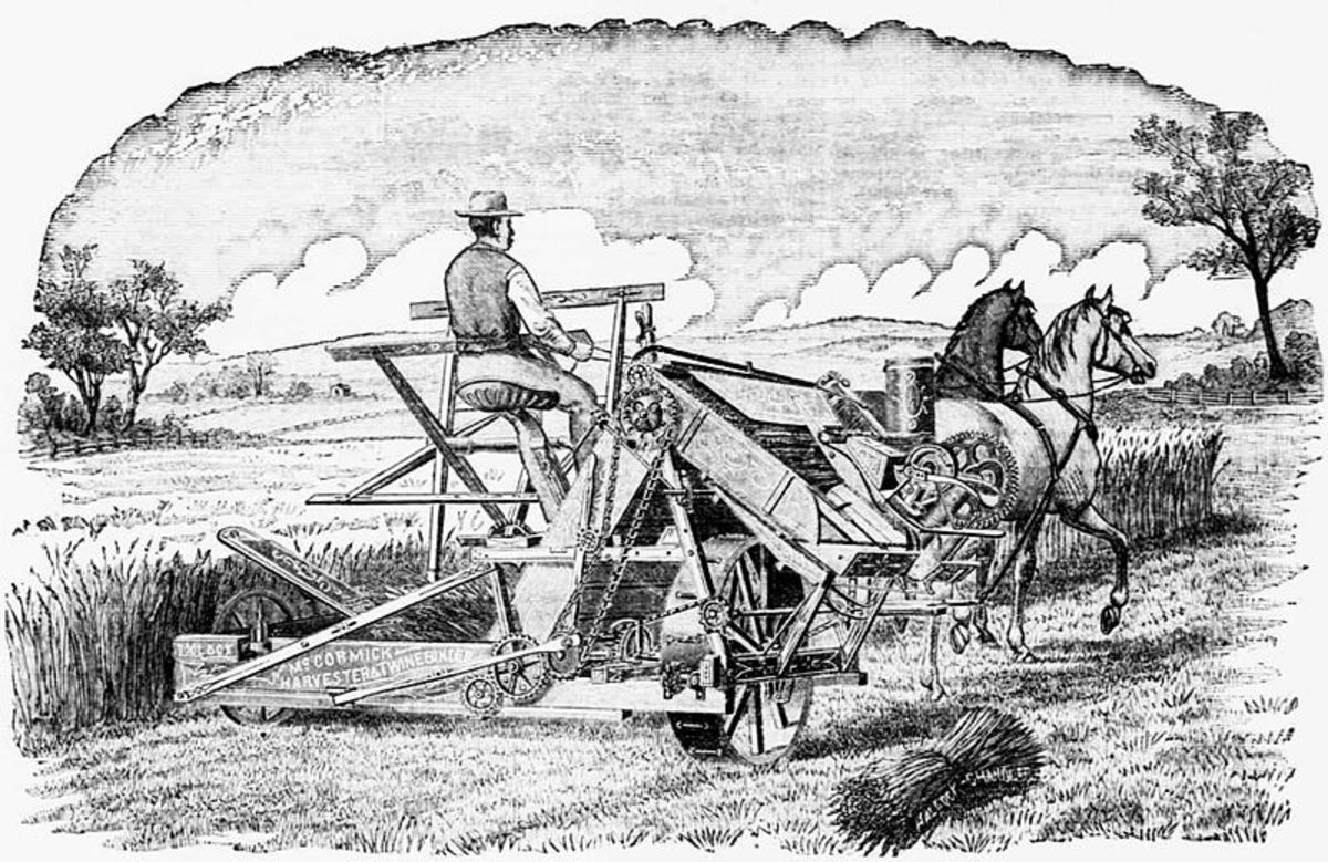 "Advertisement for the twine binder version of the McCormick reaper. Caption reads: ""The People's Favorite! The World-Renowned McCormick Twine Binder! Victorious in over 100 Field Trials! New and Valuable Improvements for 1884!"""