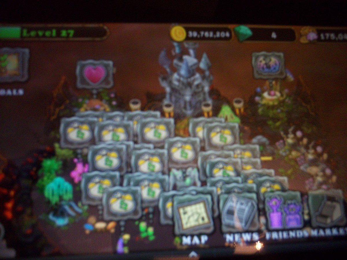 A screen showing the actions needed at that time... collect money, place a newly born monster on the island, etc.