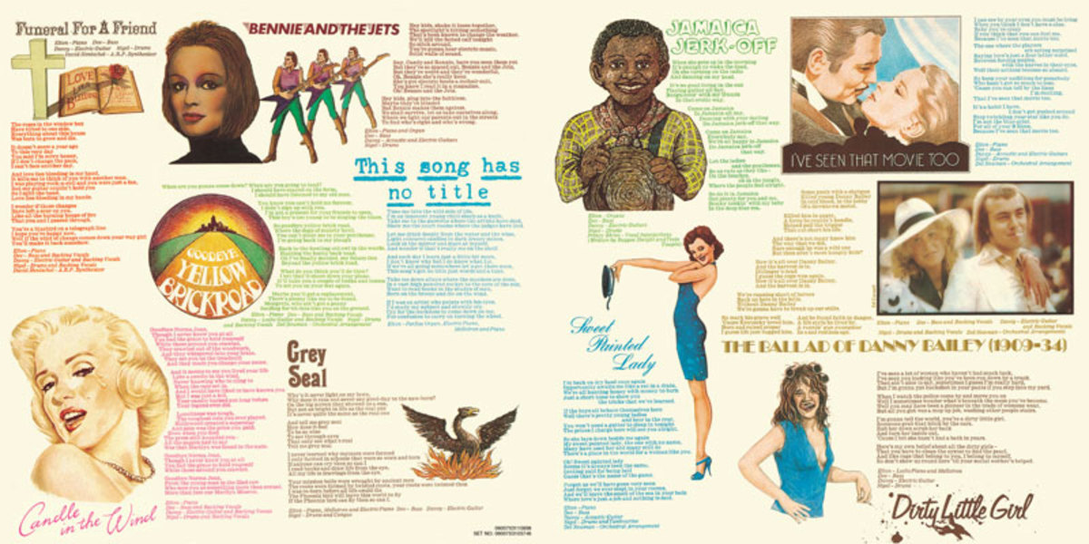 Inside Cover: Goodbye Yellow Brick Road: Every song has it's own theme and drawing. I spent hours looking through these while listening.