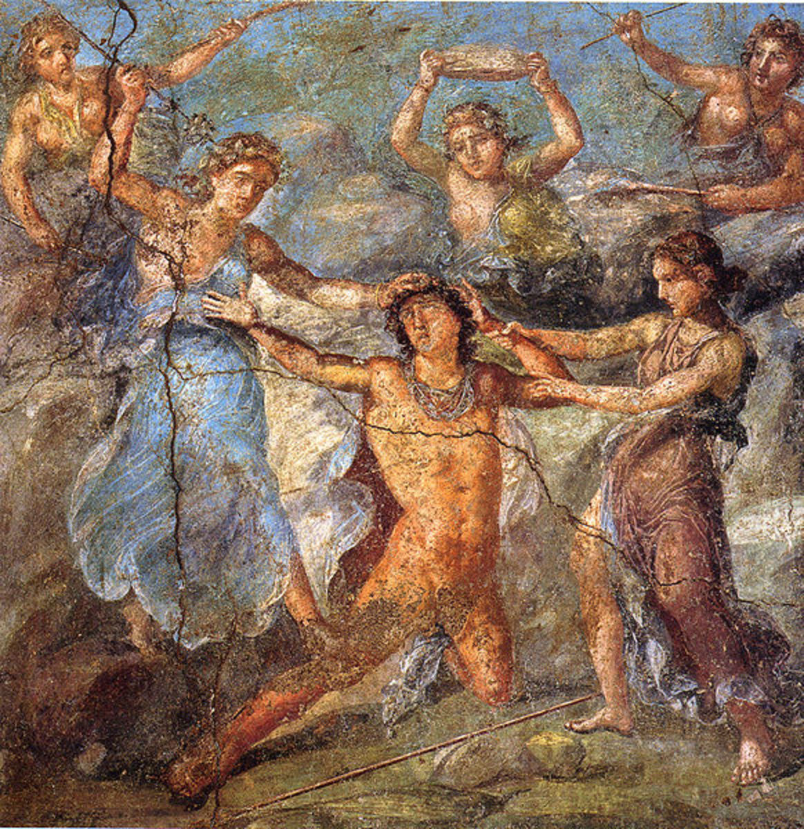 Pentheus being torn apart by maenads. Fresco from the House of the Vetti