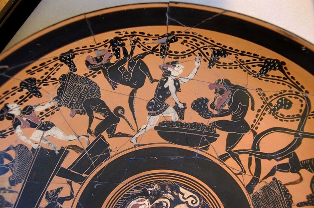 Greek krater depicting maenads and satyrs making wine.