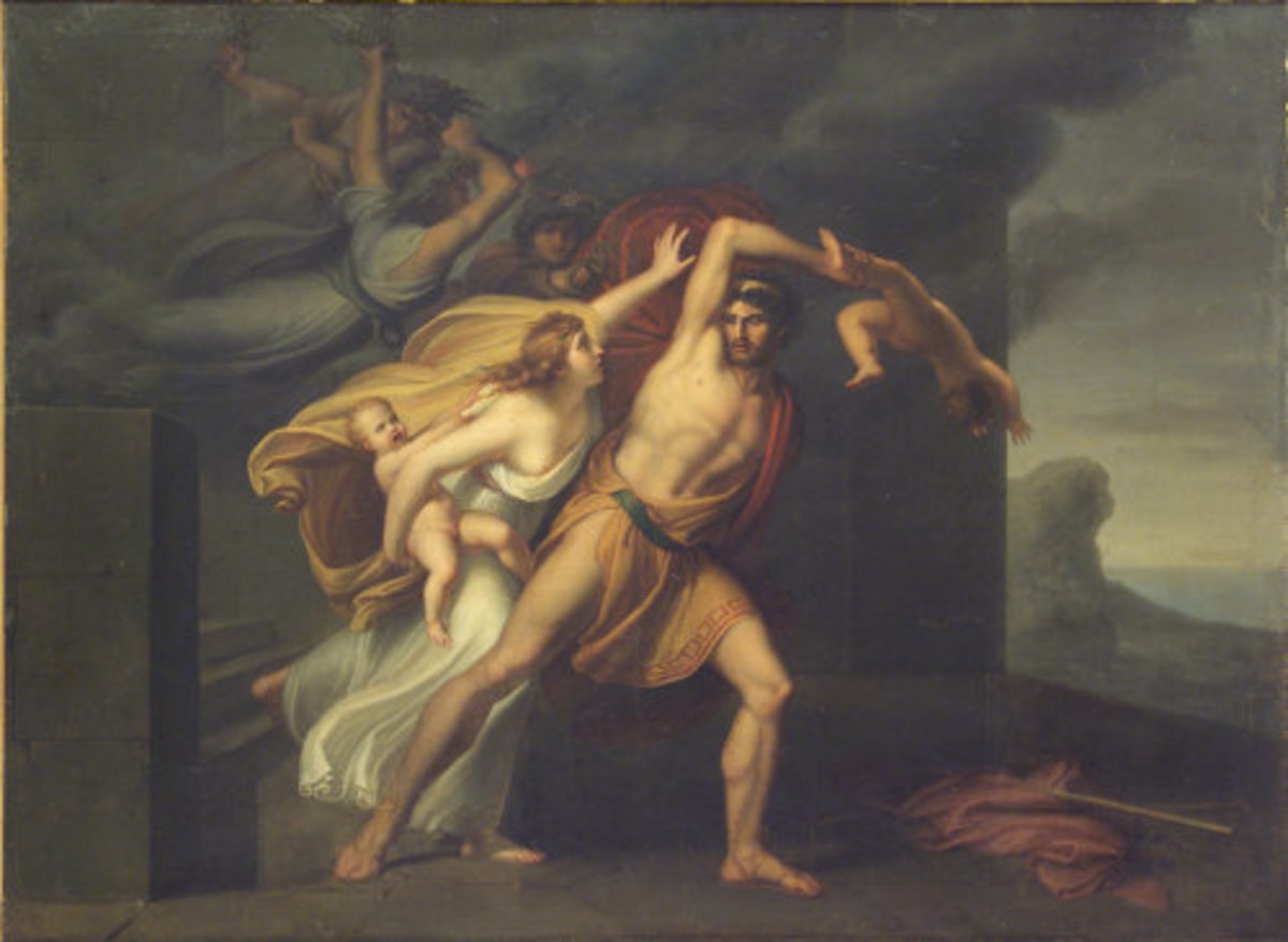 Athamas being driven by a Fury to kill his son. Painting by Arcangelo Migliarini, 1801.