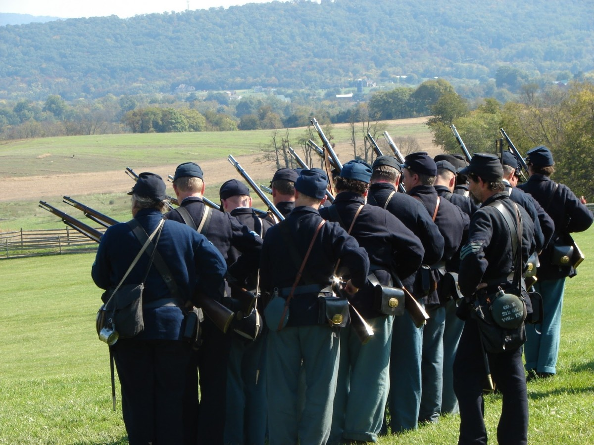 Members of the 8th Ohio Volunteers Living History Association Prime their muskets and come to the Ready position