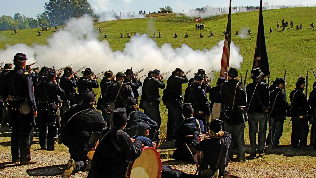 A Living History Unit Fires By Company