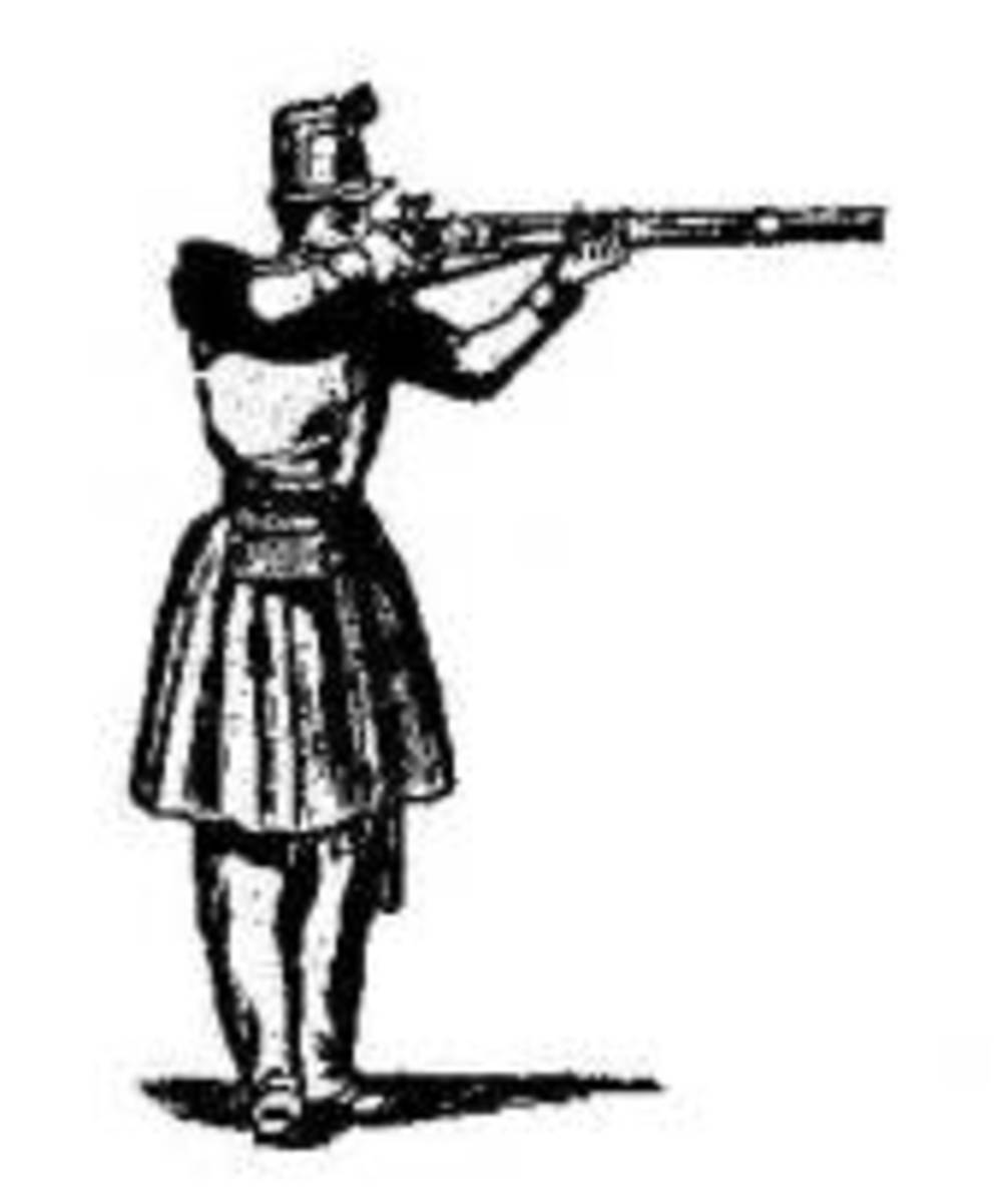 Hardee's Manual illustration: Front Rank Upright Direct Aim/Fire stance