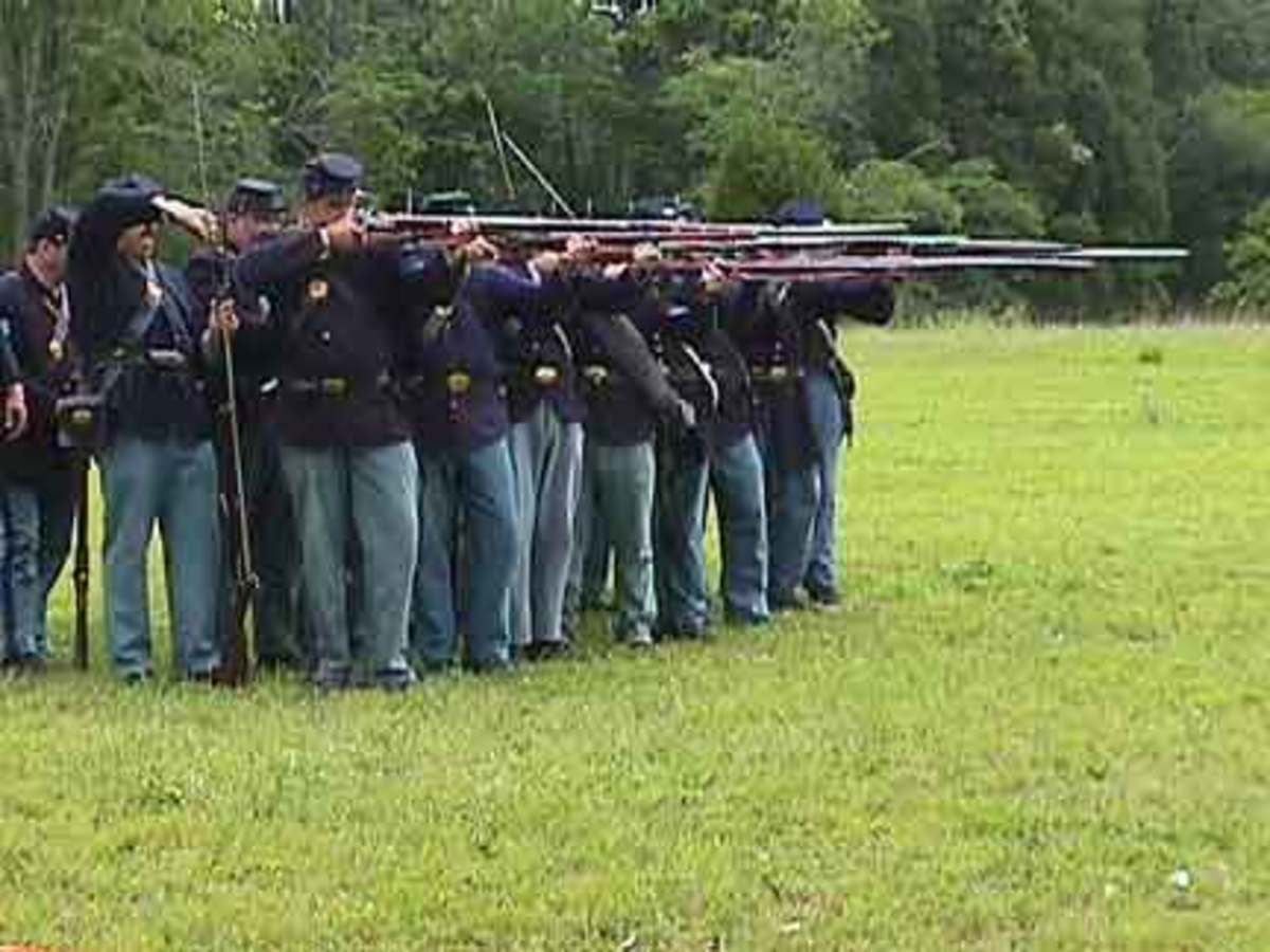 A Living History Unit prepares to Fire By Rank:  the Front Rank Aims while the Rear Rank Loads (it already fired its volley)