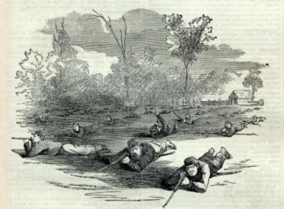 Sketch of infantrymen in the Prone Direct Firing position.