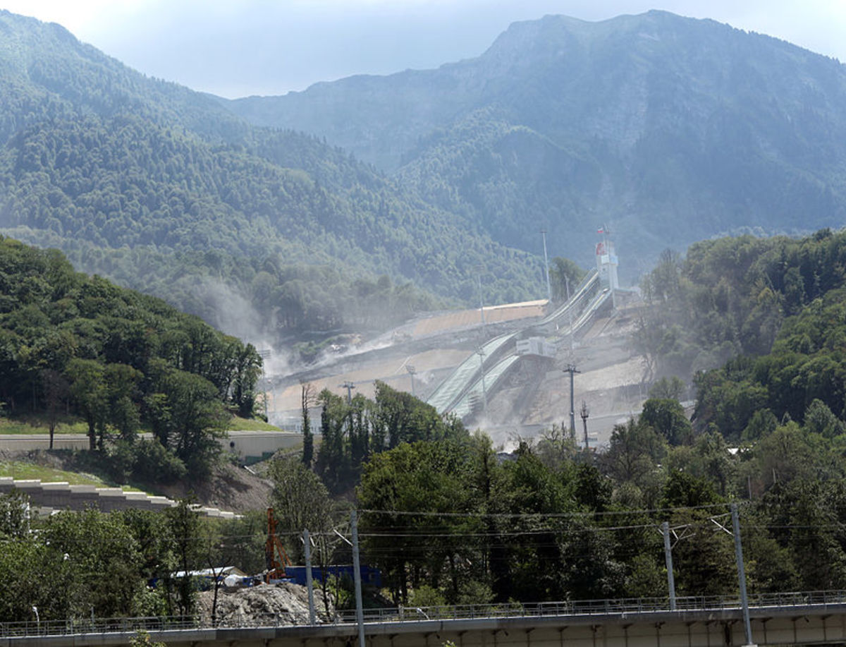 Unfinished Ski Jumping arena, Estosadek, Sochi, Russia (used in 2014 Olympic Winter Games)