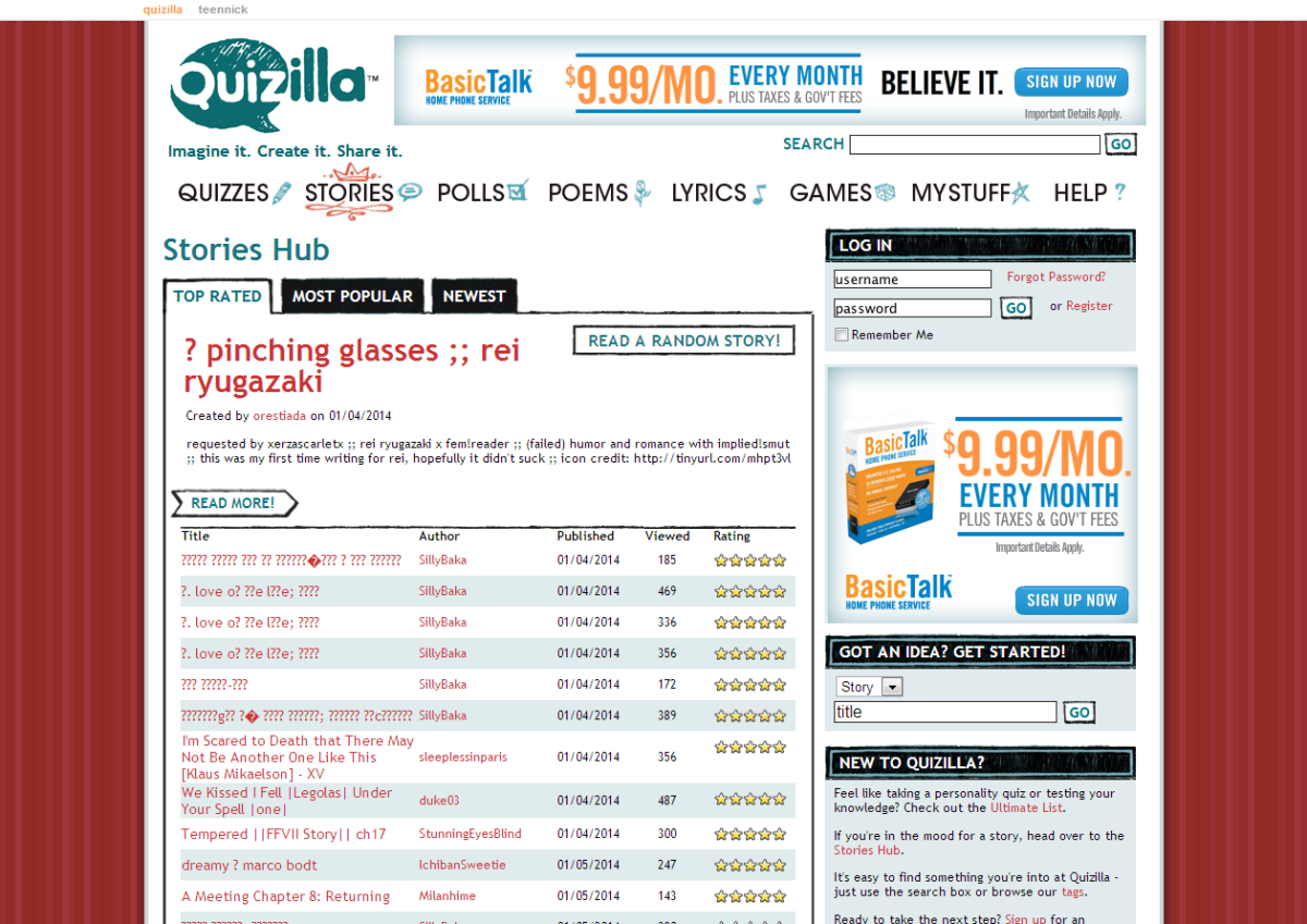 Screenshot of Quizilla Website