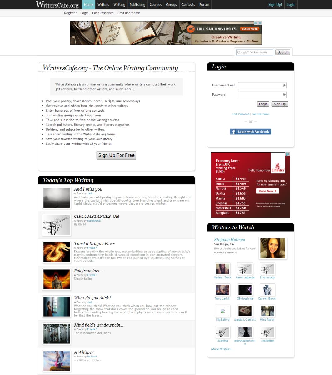 Screenshot of Writer's Cafe Homepage
