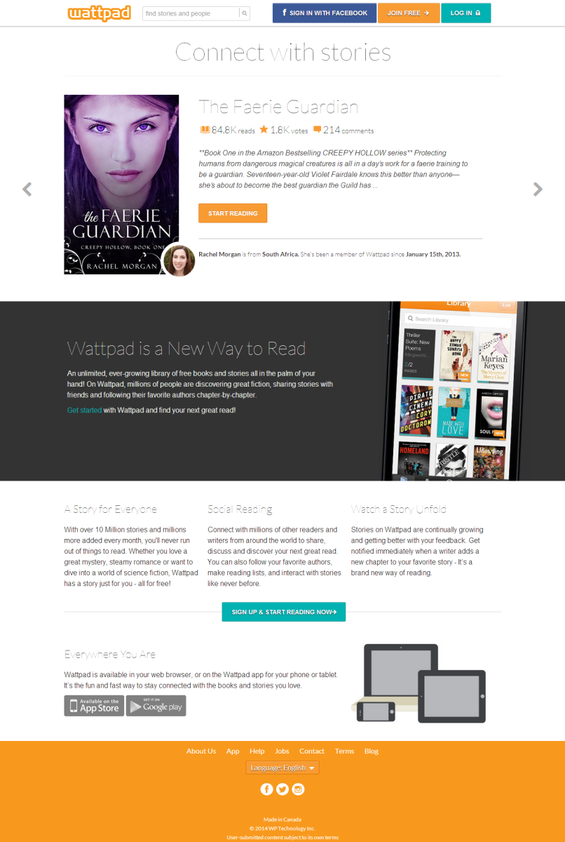 Screenshot Of Wattpad Website