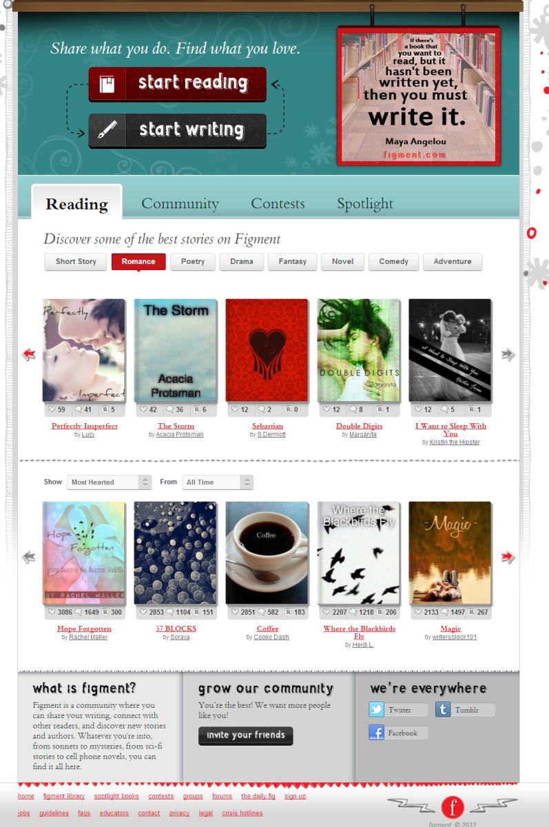 Screenshot of Figment Website