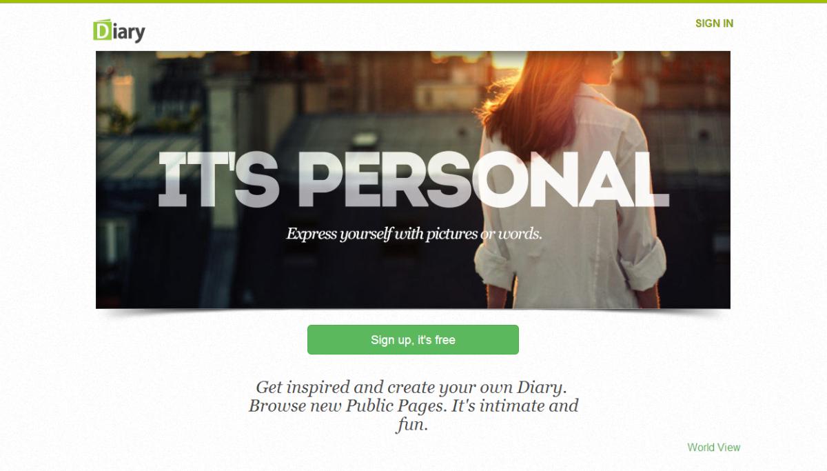 Screenshot Of Diary Website