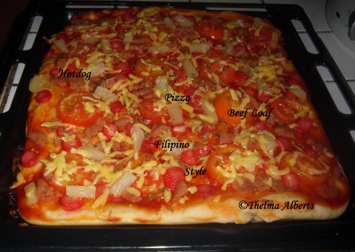 Filipino Style Hotdog and Beef Loaf Pizza