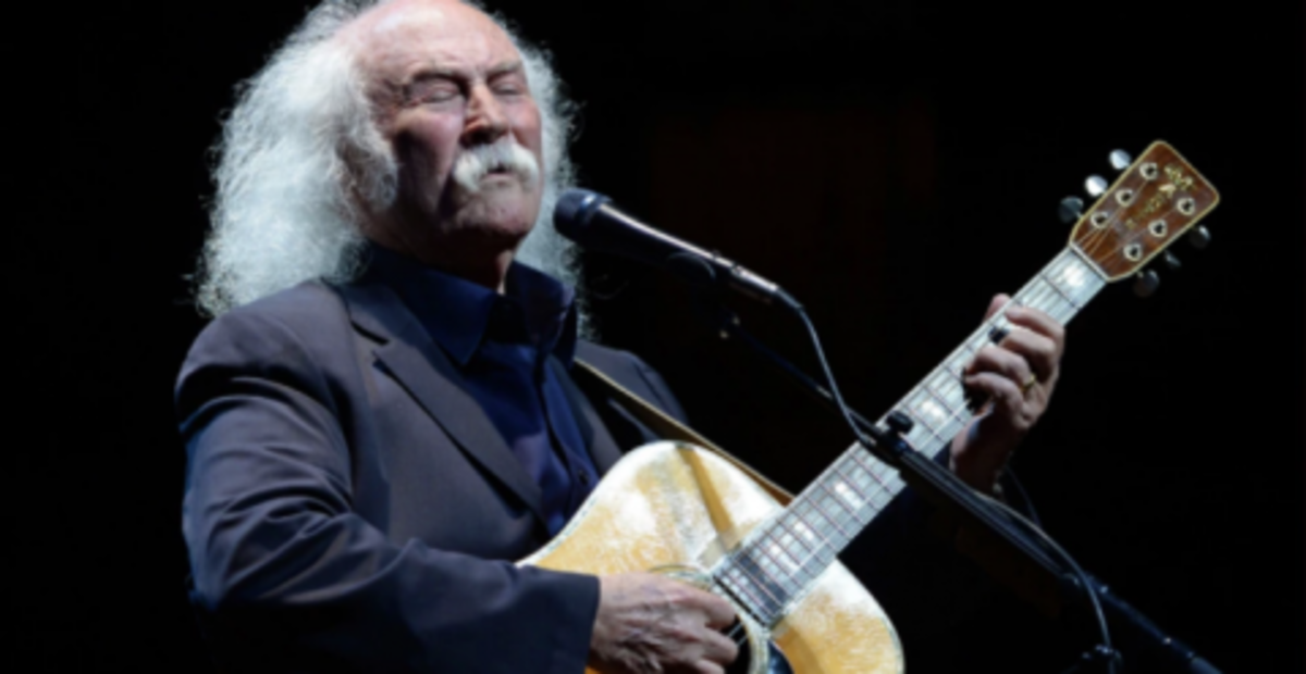 David Crosby with one of his Martin guitars