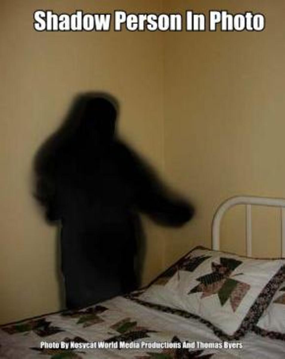 Notice the Shadow Person standing behind the bed in this photo.