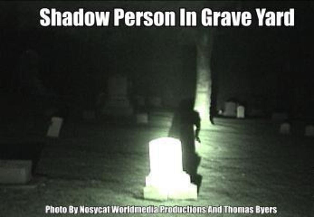 In the photo you can clearly see a real shadow person in the photo there. What is it though and why is it in the graveyard. Is its earthly remains buried there.